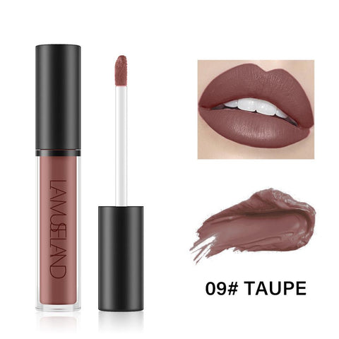 Image of Waterproof Longlasting Lip Gloss Nonstick Cup Liquid Velvety Lipstick Taupe