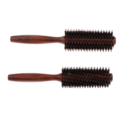 Bristles Wood Round Styling Hairbrush Roll Comb for Curling Straight Hair 01