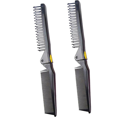 Image of 2PC Foldable Travel Pocket Hair Comb/Brush, Double Headed & Portable Black