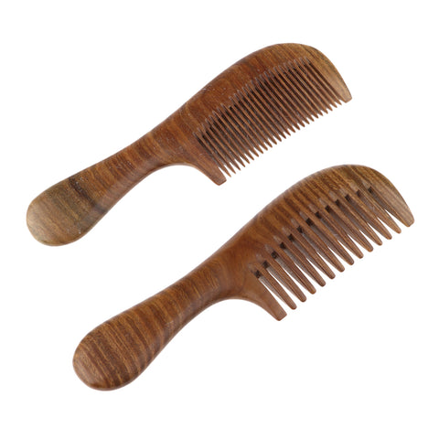 Women Antistatic Natural Green Sandalwood Long Handle Hair Comb Fine Tooth