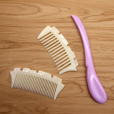 Image of Plastic Detachable Wide Tooth Detangling Hair Comb No Static Comb Purple