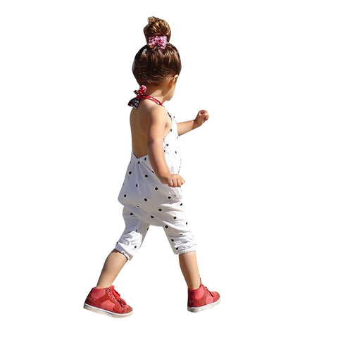 Image of Baby Girls Summer Straps Polka Dot Romper Harem Pants Jumpsuit Overalls 5-6 Years