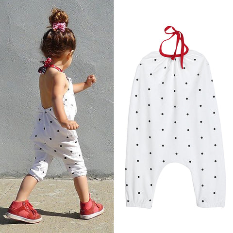 Image of Baby Girls Summer Straps Polka Dot Romper Harem Pants Jumpsuit Overalls 2-3 Years