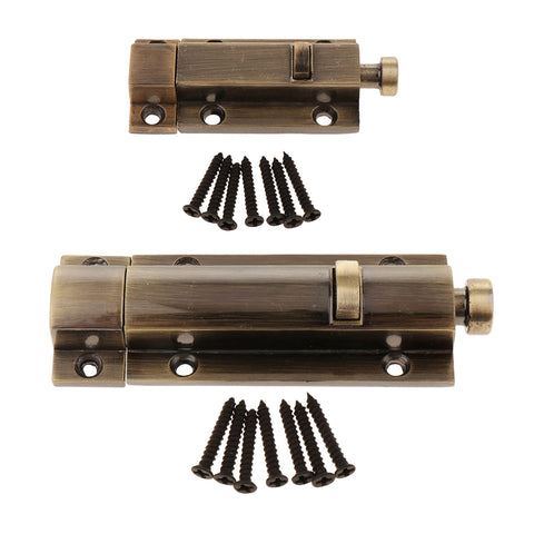 Zinc Alloy Door Slide Bolt Hasp Lock Latchbolt Home Safety Guard Copper 3inch