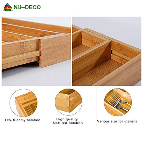 100% Natural Bamboo stretchable Kitchen Adjustable Cutlery Tray Drawer Organizer With Knife Block