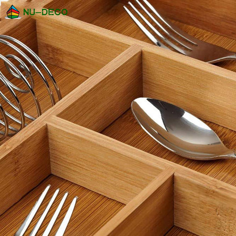 Image of 100% Natural Bamboo stretchable Kitchen Adjustable Cutlery Tray Drawer Organizer With Knife Block