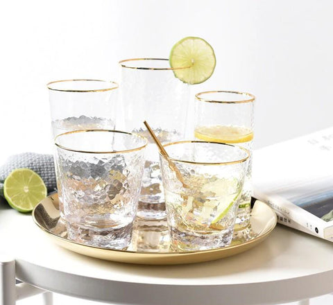 Image of 100% Lead Free Whisky Glass Clear Gold Rim Glass Cup