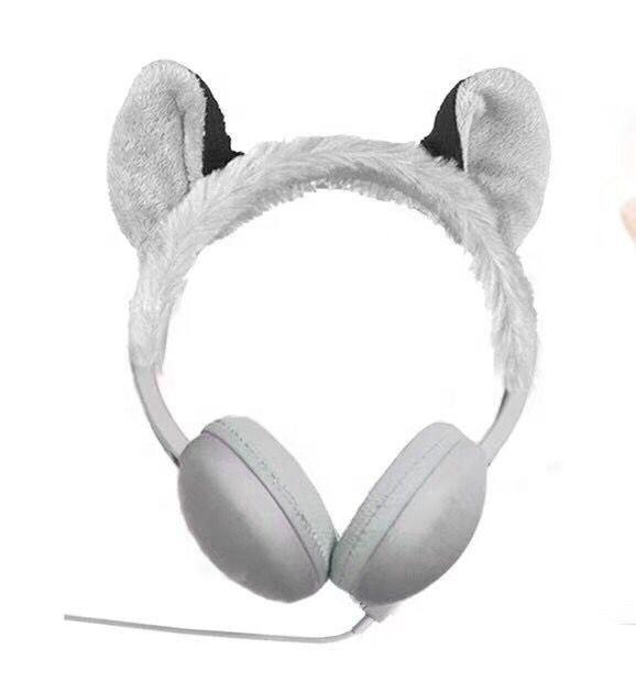 High Quality OEM Custom Wired Cartoon Cute Animal Warm Plush Headphones For Children