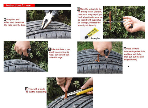 Complete Tubeless Tyre Puncture Repair Kit (Nose Pliers + Cutter + Rubber Cement + Extra Strips)