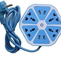 Hexagon Electrical Extension Cord 4 Surge Power Socket with 4 USB Port for Computer with 6 ft. Wire Protector Spike Strip Guard