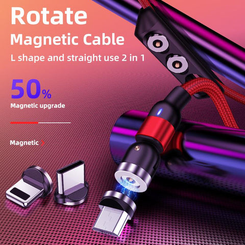 On stock 3 in 1 round magnetic phone cable for micro/IOS / Type C cell phone fast charging magnetic usb cable with cheap price