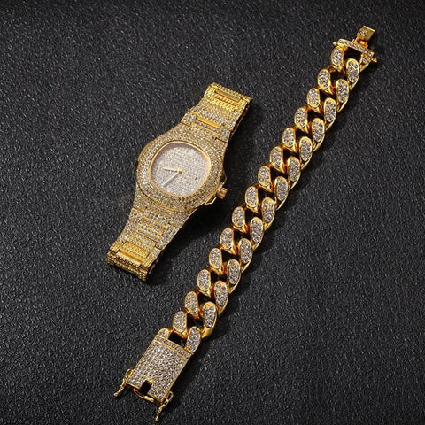 Hip Hop Gold Color Cuban Chain Gold Silver  Free Luxury Combination of Watch and Necklace Set