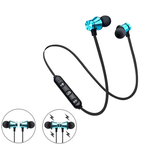 Image of Magnetic Attraction Bluet ooth Earphone Waterproof Sport Headphone 4.2 with Build-in Mic Headphone Blue tooth Headset