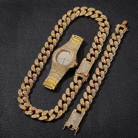 Image of Hip Hop Gold Color Cuban Chain Gold Silver  Free Luxury Combination of Watch and Necklace Set