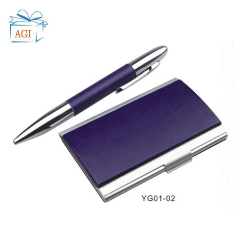 Image of pu leather card holder case pen leather keyring power bank corporate promotion gift set items 2019