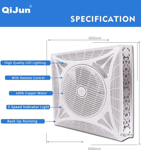 Image of High Quality Silent 14 inch Air Conditioning Ceiling False Mont Box Fan with Light