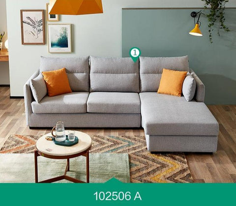 Image of Victoria 3+1 Seater Light Grey LHS Sectional Sofa