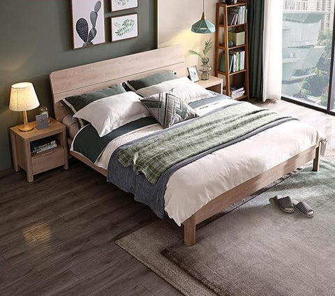 Voula Oak Finish Queen Beds