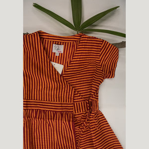 ORANGE OVERLAP STRIPE DRESS