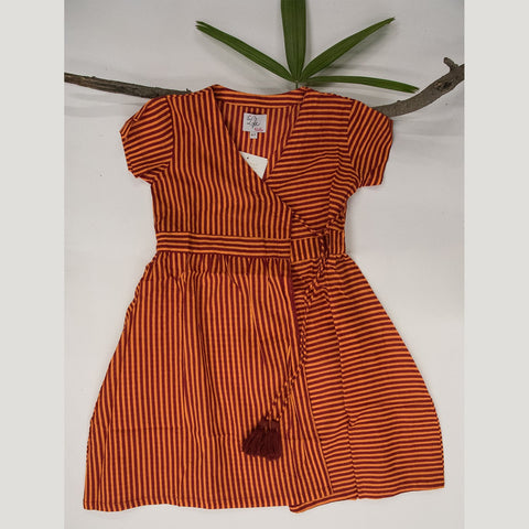 Image of ORANGE OVERLAP STRIPE DRESS