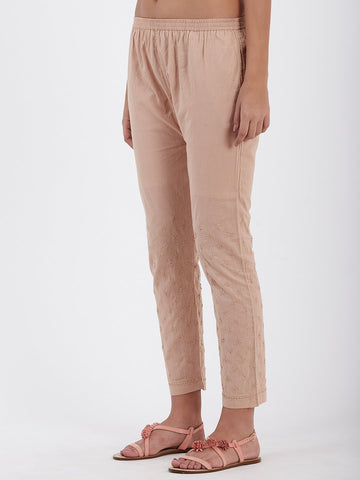 Image of LYLA WOMAN STRAIGHT PANT WITH CHIKANKARI WORK