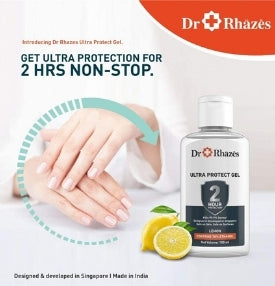 Dr. Rhazes Ultra Protect Hand Sanitizer Gel Contains 70% Ethanol 2 hours Germ Protection for Hands and Surfaces (Pack of 4) 100 ml