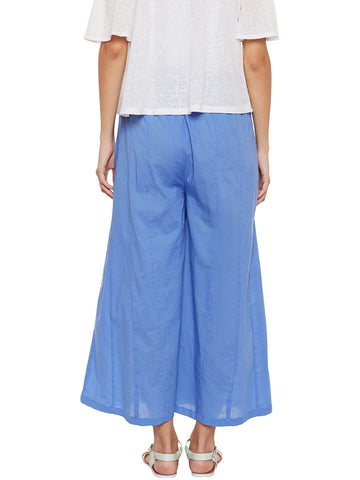 Image of Powder Blue Flared Cotton Palazzos