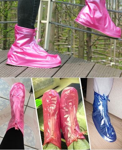 Amazon's new silicone waterproof shoe cover rain boots cover zipper thick sole shoe cover
