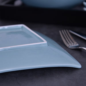 Hotel Plates Dishes Dinner Long Plates Blue On-glazed Ceramic Rectangular Serving Plates