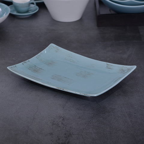 Image of Hotel Plates Dishes Dinner Long Plates Blue On-glazed Ceramic Rectangular Serving Plates