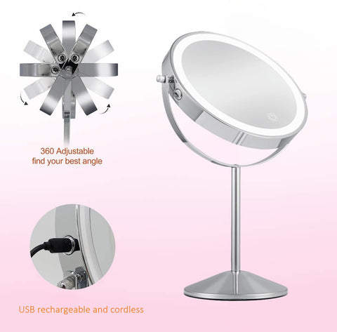 Image of Table Top Free Standing 8 Inch Double Sided Battery Powered Vanity Makeup Mirror With Lights