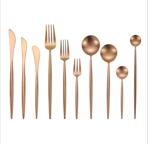 Image of wholesale wedding gold flatware cutlery sets flatware