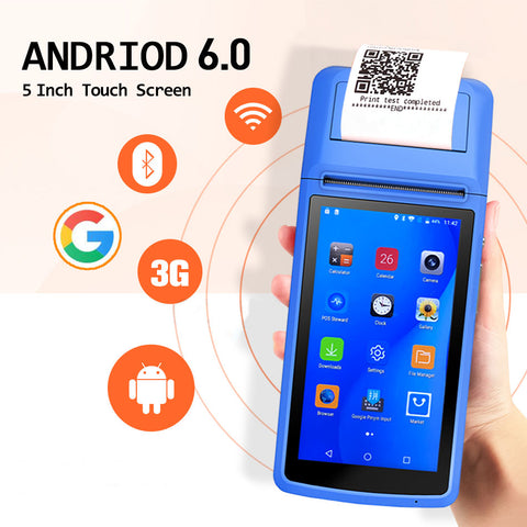 Image of Milestone M1 M1S 3G Android handheld pos with printer 58mm support GPRS AGPS Bluetooth wifi receipt mobile pos for restaurant
