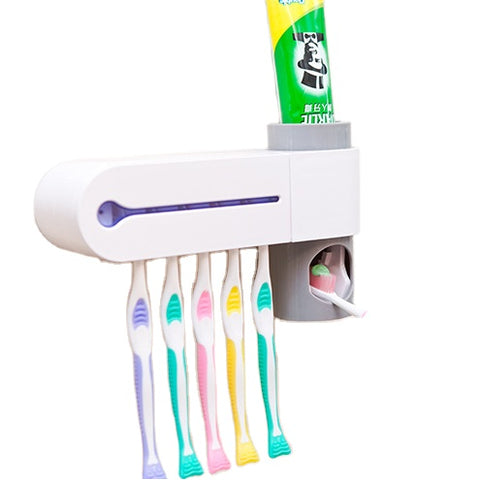 Amazon hot sell Wall Mounted Automatic Toothpaste Dispenser Toothbrush UV Sterilizer
