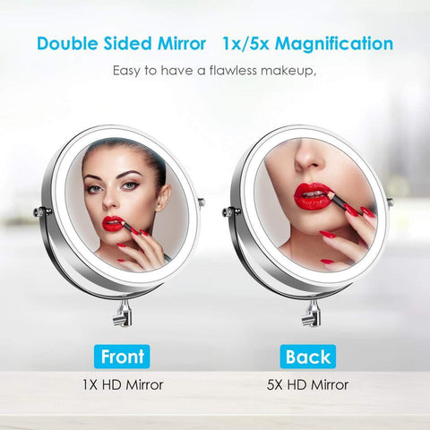 Image of Wall Mounted Battery Powered Led Light Magnifying Mirror 10X Hotel Bathroom Make Up Mirrors