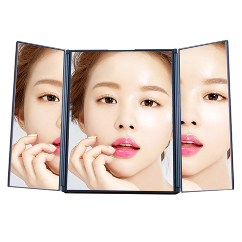 2020 New 12*15*1cm 208G High Quality Portable foldable Tri-fold magnify make up vanity Compact Mirror with Holder