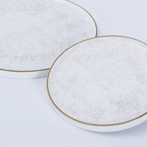 Image of wholesale round flat porcelain dinner tableware crockery ceramic dining plate