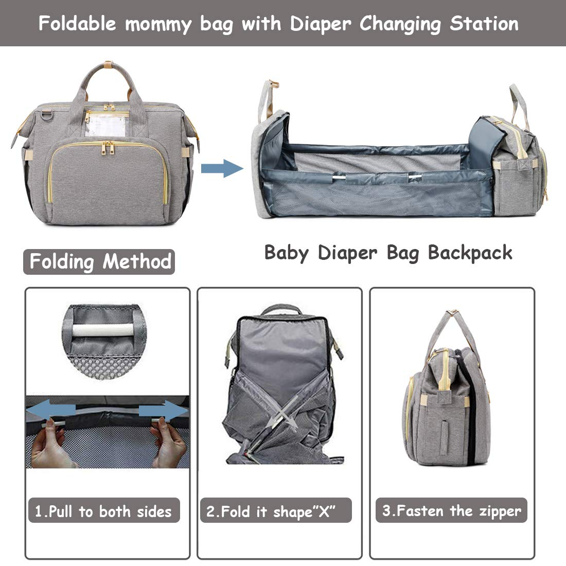 P&T 3-1 Portable Diaper Bag Backpack With USB baby bed bag travel Expandable Baby Bed baby diaper bag waterproof