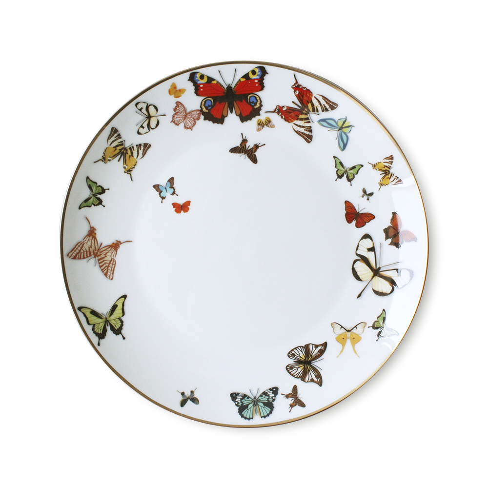 High end Event Dinner Plates Porcelia Stripe Gold Dinnerware Butterfly Plates Sets