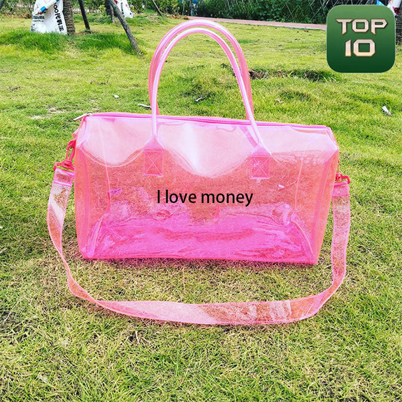 P&T2020 Customize Transparent Holographic TPU travel Bag with Logo Factory Price for Clear PVC Hologram Pink Duffel Bag Laser