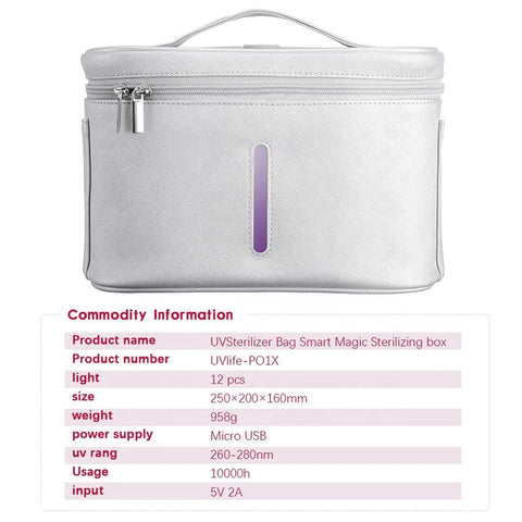 P&T New Portable LED UV Disinfection Bag UV Sterilizer Bag with USB Rechargeable