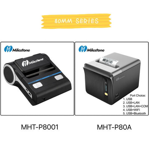 Image of 80mm bluetooth thermal printer usb port mini portable thermal receipt printer with free application