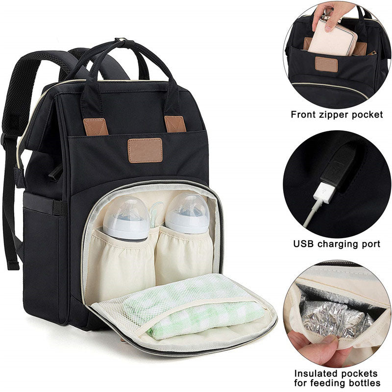 P&T Large Nylon Nappy Bag Diaper Bag Backpack with USB Charging Port