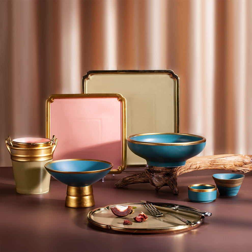 High quality Yayu luxury creative ceramic tableware with popular design colorful gold rim Nordic fancy porcelain dinnerware set
