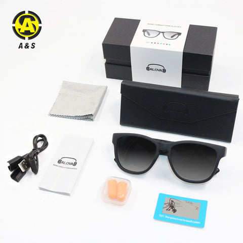 Image of P&T Conduction Earphone Glasses with Speaker Wireless Bluetooth Smart Audio Headphone Sunglasses