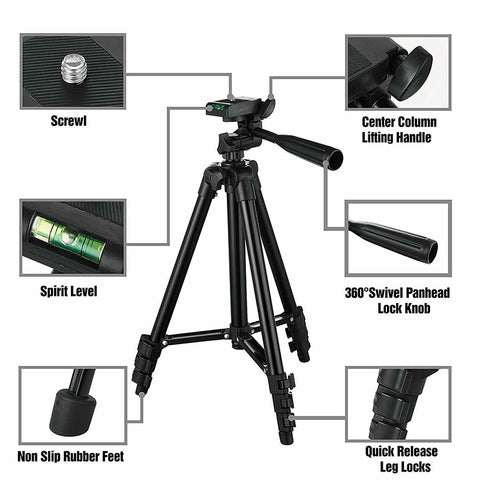 P&T Digital Camera Tripod with Phone Holder Stand Carry Bag