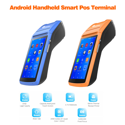 Milestone M1 M1S 3G Android handheld pos with printer 58mm support GPRS AGPS Bluetooth wifi receipt mobile pos for restaurant
