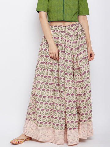 Image of Peach block printed skirt