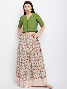 Peach block printed skirt