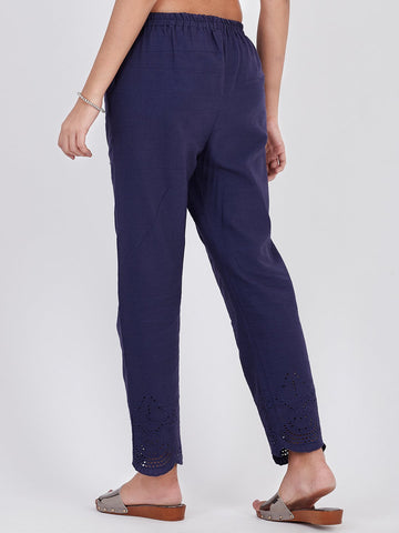 Image of LYLA WOMAN KHADI STRAIGHT PANT SCHIFFLI WORK